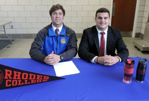 Hayden and Bam repping a Rhodes college pennent (Photo by Karen Hebert)