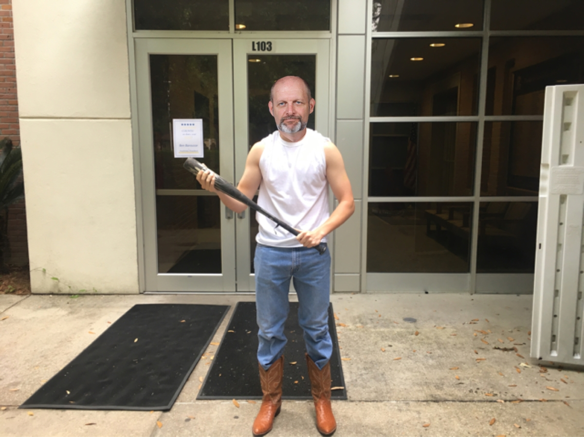 [satire] CRY WOLF: Sleeveless, Baseball Bat-Wielding Watkins Standing Guard Outside Main School Building to Prevent Senior Prank